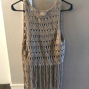 Daytrip Gray Crochet Fringe Vest